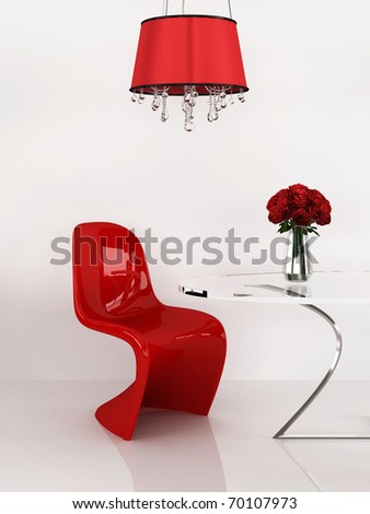 Modern chair in minimalism interior. Furniture. Loft. 3D Render - stock photo