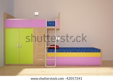 modern children room - stock photo