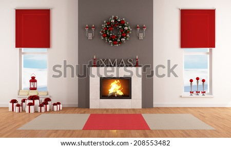Modern Christmas living room with fireplace and decoration - stock photo