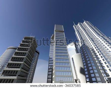 modern city and blue sky - stock photo