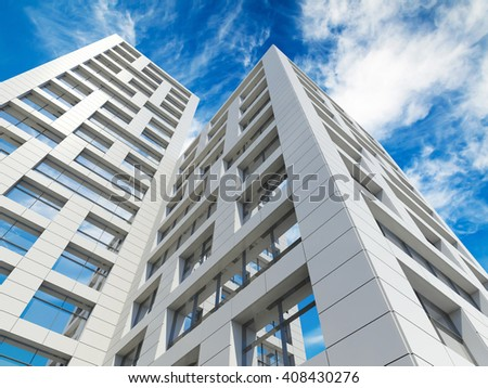 Modern city architecture. Perspective of tall city towers under blue cloudy sky. 3d render illustration - stock photo