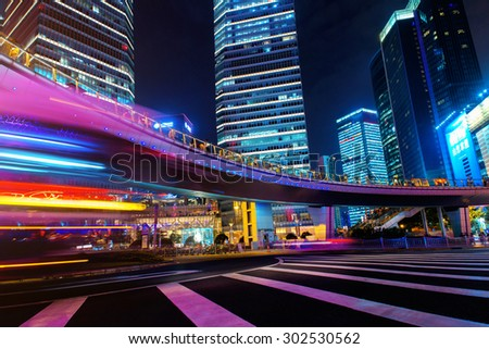 Modern city at night. Shanghai Lujiazui finance street. - stock photo