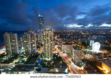 modern city at night viewed from above (gold coast, queensland, australia) - stock photo