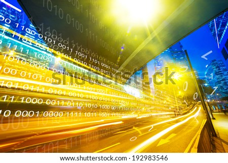 modern city at night with financial background - stock photo