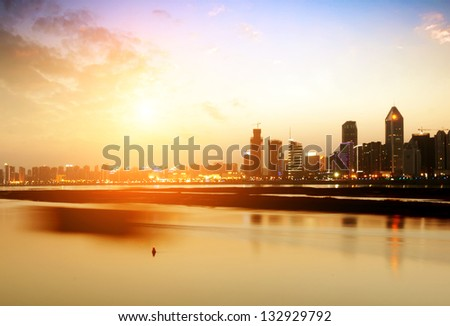 modern city at sunrise,Shanghai skyline. - stock photo