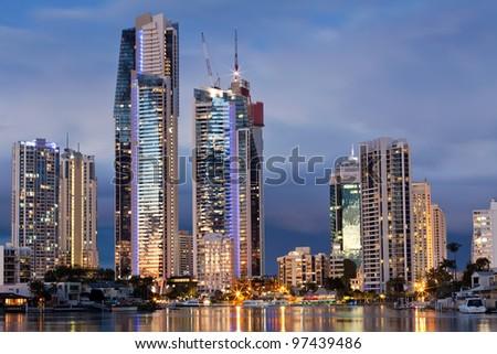 modern city at twilight (gold coast, Queensland, Australia) - stock photo
