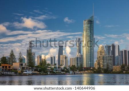 Modern city, daytime. (City of Gold Coast, Queensland, Australia) - stock photo