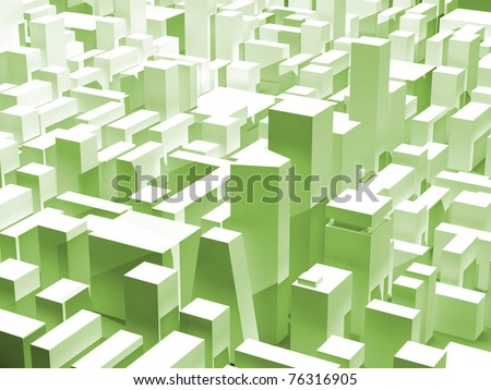 Modern city district in green - stock photo