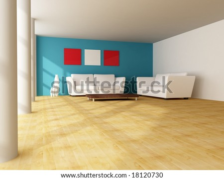 modern city house with white leather sofa and white column -digital artwork - stock photo