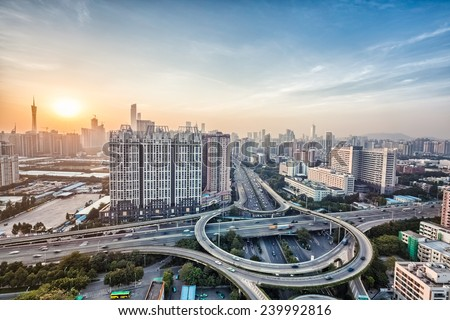 modern city interchange overpass at dusk in guangzhou, HDR image  - stock photo
