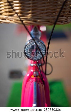 modern city red bike with basket - stock photo