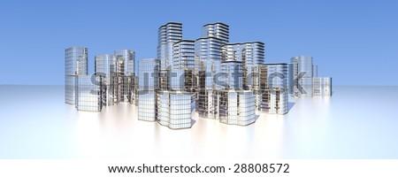modern city skyline - stock photo