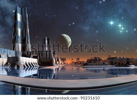 Modern City Skyline On Taris, skyline with stars and moon in the background - stock photo