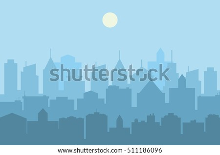 Modern City skyline . Urban landscape. Blue city silhouette. illustration in flat design. city landscape. Cityscape backgrounds. Daytime city skyline. Raster version