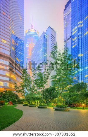 Modern city streets and office buildings Hong Kong - stock photo