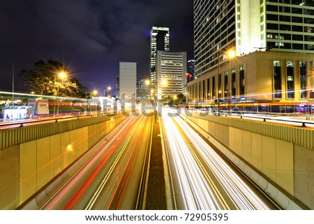 modern city traffic car light at night
