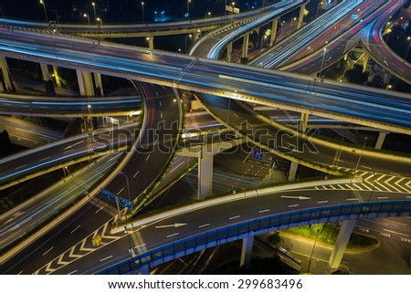 Modern city traffic road night. Transport road junction. Aerial road junction. transport road junction on the bridge. road bridge night, bridge on light, road junction shanghai, road junction aerial - stock photo