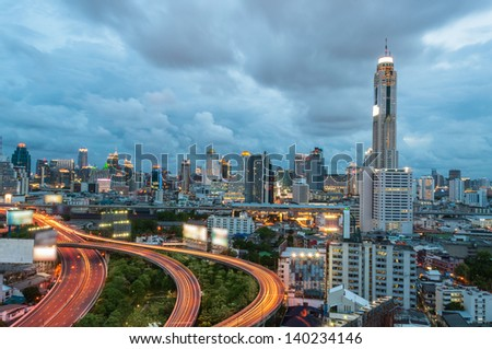 Modern city view of Bangkok, Thailand. Atmosphere before rain. - stock photo