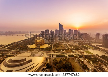 modern cityscape and traffics during dawn - stock photo