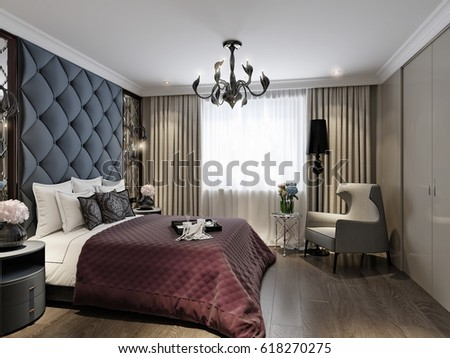 Modern Classic Art Deco Bedroom Interior Stock Illustration ...