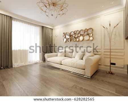 Modern Classic Beige Living Room Interior Design With Large Beige Sofa And  Modern Fireplace With Gold