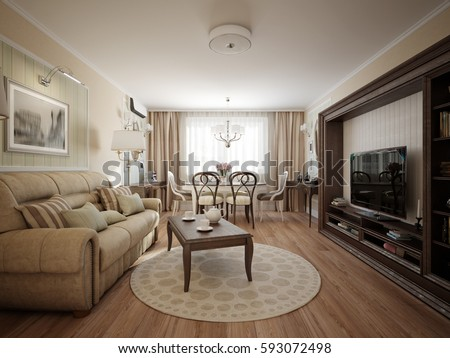 Modern Classic Living Room Dining Room Stock Illustration 593072498