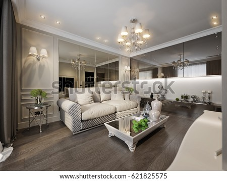 Modern Classic New Traditional Living Room Stock Illustration 621825575 Shutterstock