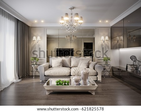 Modern Classic New Traditional Living Room Interior Design With Gray Brown Glossy Chrome Furniture TV Area