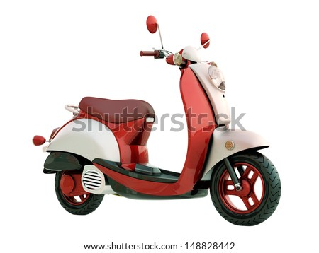 Modern classic scooter isolated on a white background - stock photo