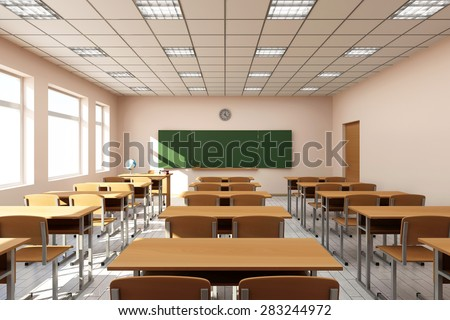 Modern Classroom 3D Interior in Light Tones. 3D Rendering - stock photo