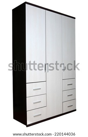 Modern closet for clothes two colors, texture wenge wood, six drawers, three-sided, isolated on white background. - stock photo