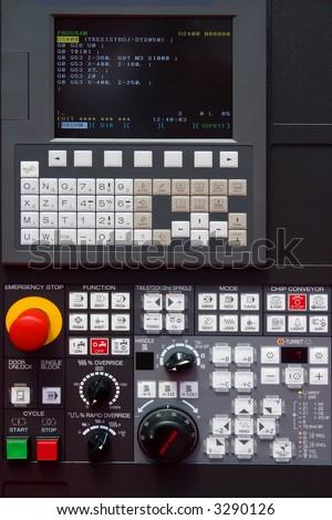 modern CNC machine control panel - stock photo