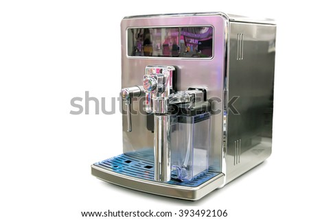 Modern coffee machine in a shiny metal case. Presented on a white background.