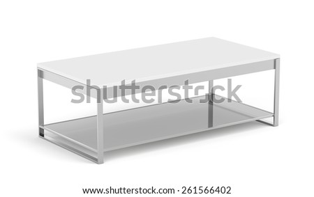 Modern coffee table on white background - stock photo