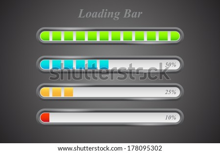 Modern color loading bars set (Vector version is also available in my portfolio, ID 115325602)