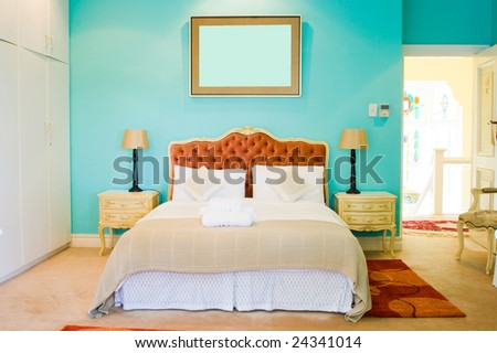 modern colorful bedroom - stock photo