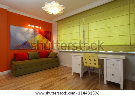 Modern colorful room with orange wall and green blinds - stock photo