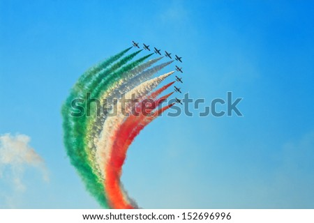 Modern combat jets in the air - stock photo