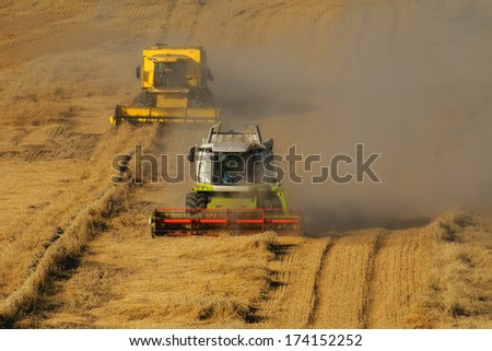 Modern combine harvester on a wheat field harvest. - stock photo