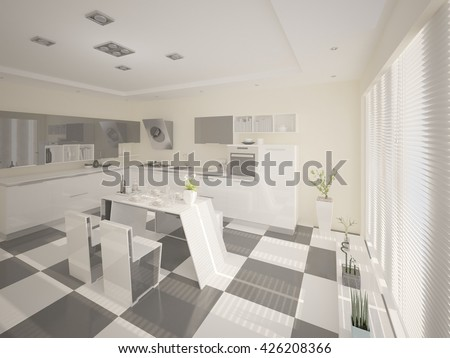Modern comfortable kitchen with a functional kitchen, 3d rendering. - stock photo