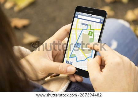 modern commerce or lifestyle concept:  woman with 3g generated smartphone with online shop interface on the screen. All screen graphics made up. - stock photo