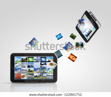 Modern communication technology illustration with mobile phone and high tech background - stock photo