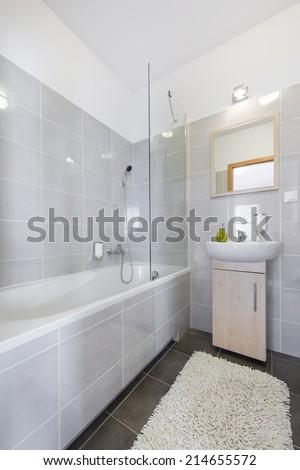 Modern, compact bathroom in scandinavian style - stock photo