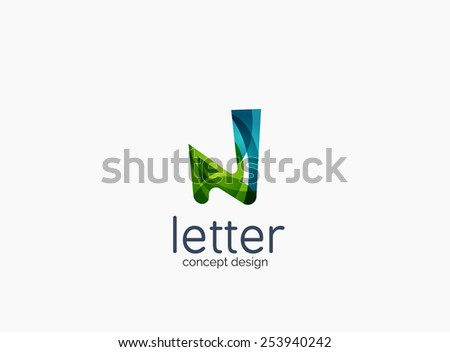 Modern company logo, clean glossy design. Abstract shape made of color overlapping wave pieces - stock photo