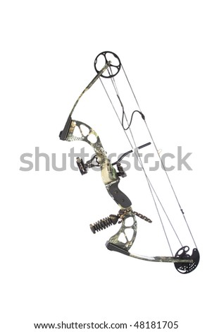 Modern compound bow isolated on white background - stock photo