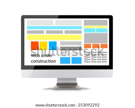 Modern computer display with icons of web construction. Front view. Isolated on white background - stock photo
