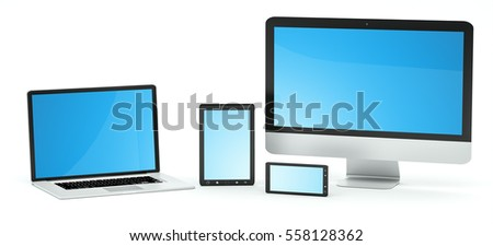 Modern computer laptop mobile phone and tablet on white background 3D rendering