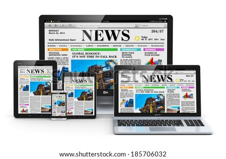 Modern computer media devices concept: desktop monitor, office laptop, tablet PC and black glossy touchscreen smartphone with internet web business news on screen isolated on white background - stock photo