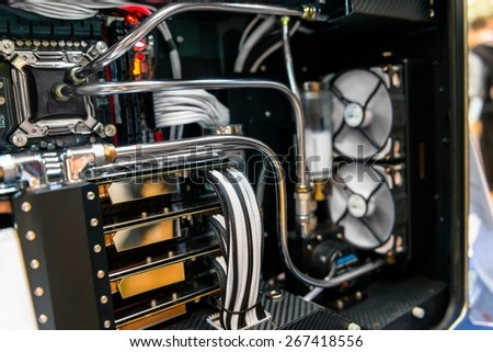 Modern computer processor and motherboard closeup photo - stock photo