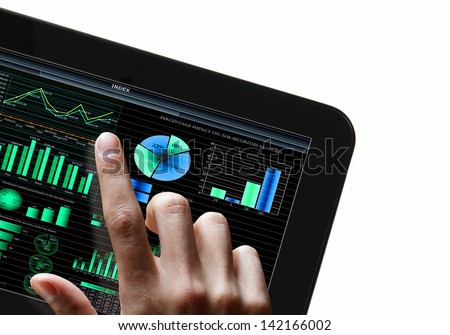 Modern computer technology in business illustration with wireless device - stock photo